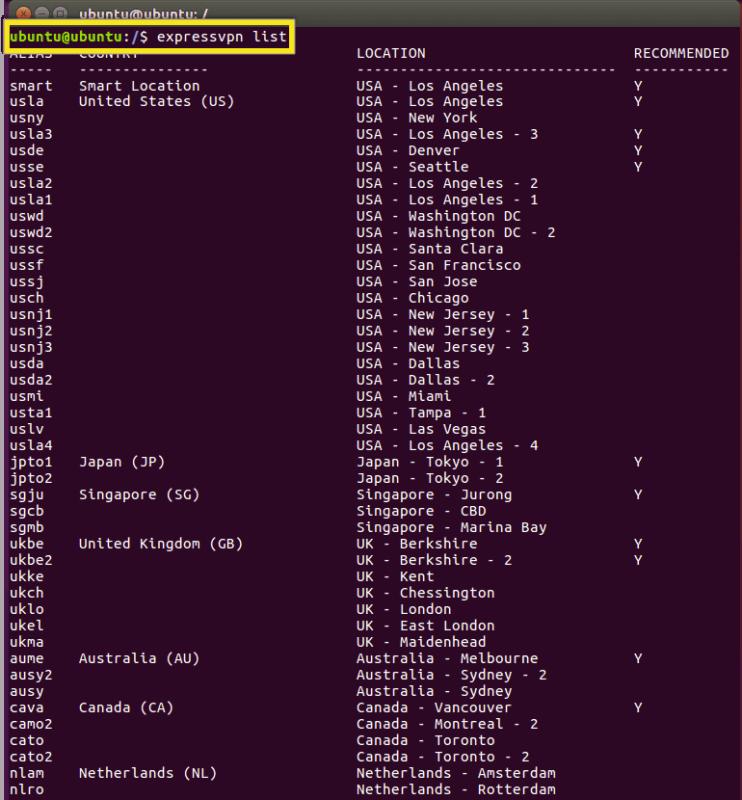 ExpressVPN服务器列表